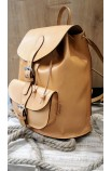Leather backpack in natural color