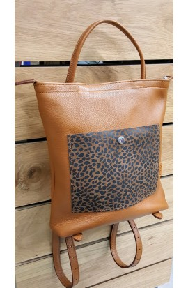animal leather backpack print