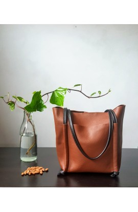 Large leather shopper bag