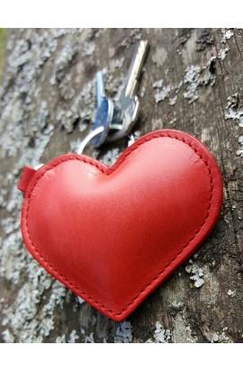 Llavero y Charm corazón de cuero