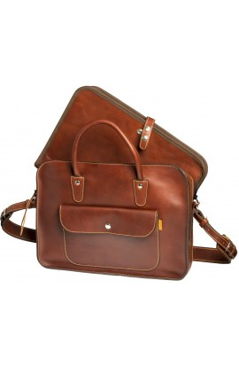 Executive leather briefcase with laptop sleeve