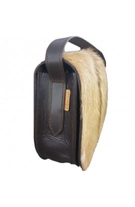 Bolso bandolera de cuero y pelo natural